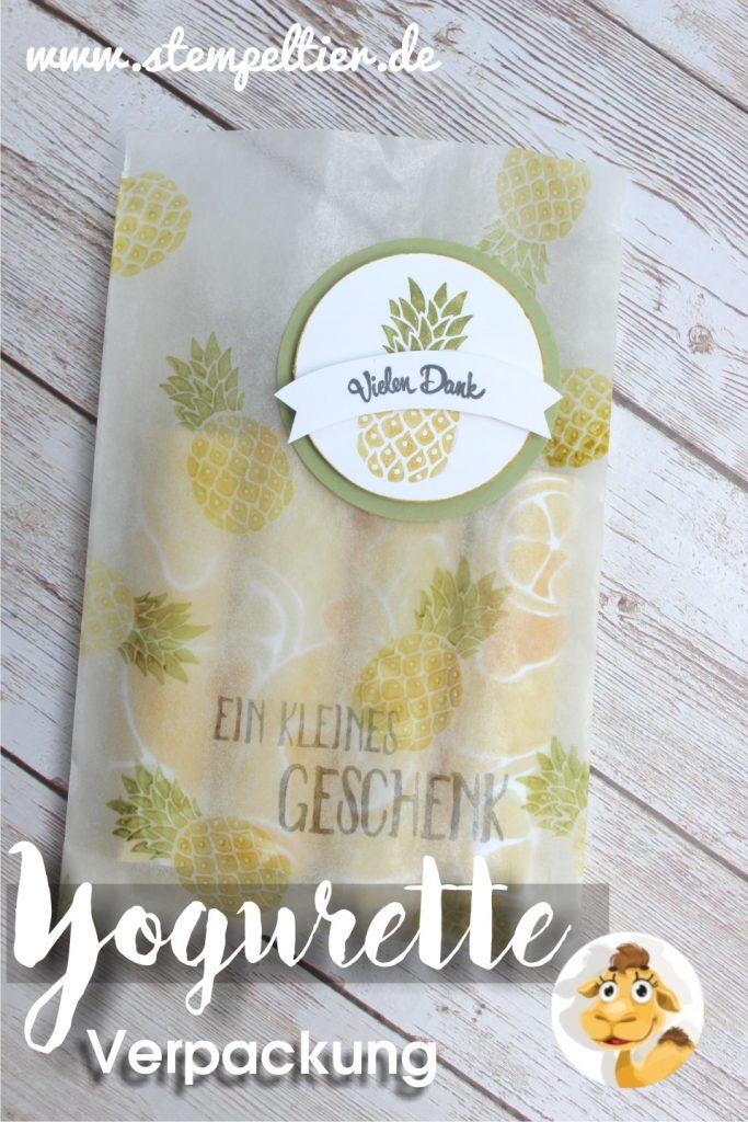 stampin up yogurette bag verpackung verpacken anleitung ananas limette Bannerweise grüßeStempeltier