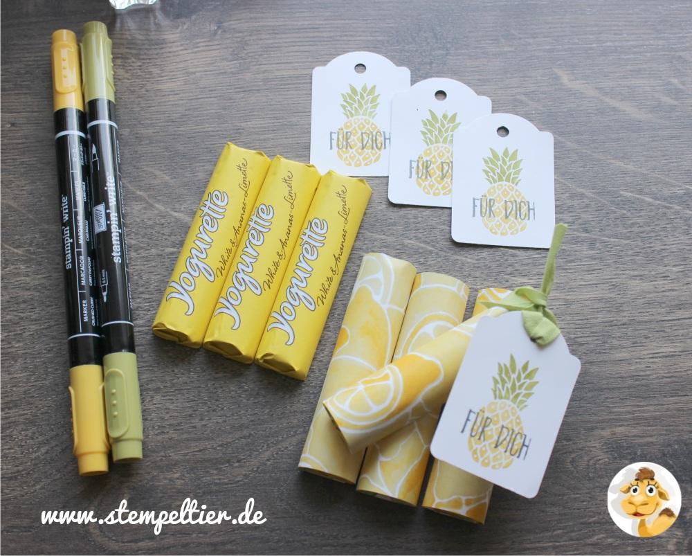 stampin up yogurette verpackung verpacken anleitung ananas limette vom Stempeltier goodie fresh fruit kleines geschenk 2