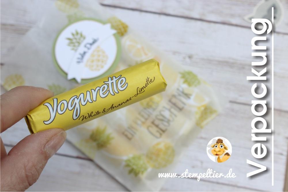 stampin up yogurette verpackung verpacken anleitung ananas limette vom Stempeltier goodie fresh fruit
