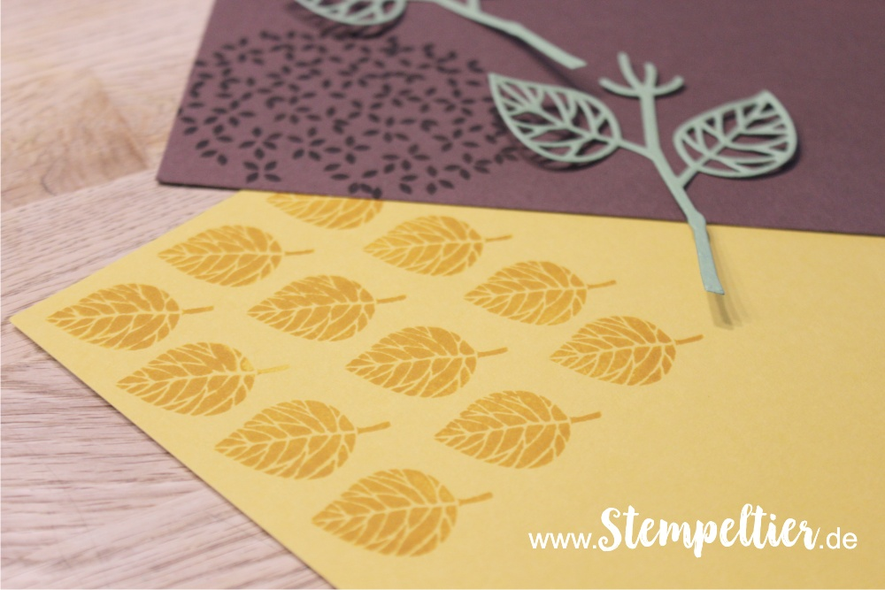 Anleitung Tutorial stampin Up thoughtful branches vintage leaves stempeltier sonnenblume wald der worte sunflower 1