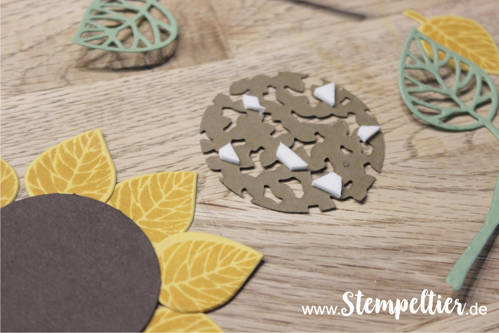 Anleitung Tutorial stampin Up thoughtful branches vintage leaves stempeltier sonnenblume wald der worte sunflower 3