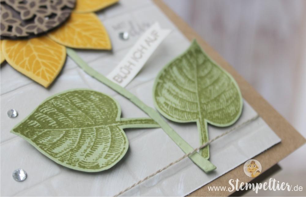 Anleitung Tutorial stampin Up thoughtful branches vintage leaves stempeltier sonnenblume wald der worte sunflower blätter