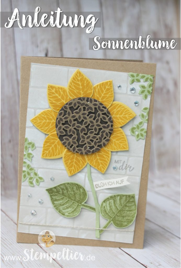 Anleitung Tutorial stampin Up thoughtful branches vintage leaves stempeltier sonnenblume wald der worte sunflower entre les branches