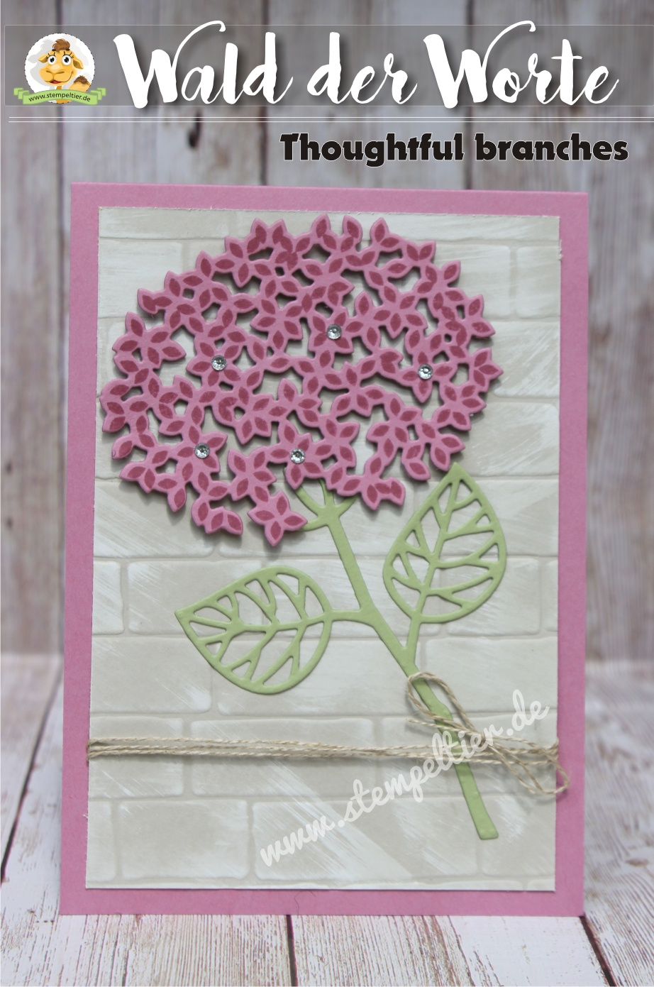 Stampin Up thoughtful branches Wald der Worte August Angebot vom Stempeltier hortensie hydrangea ziegel prägefolder