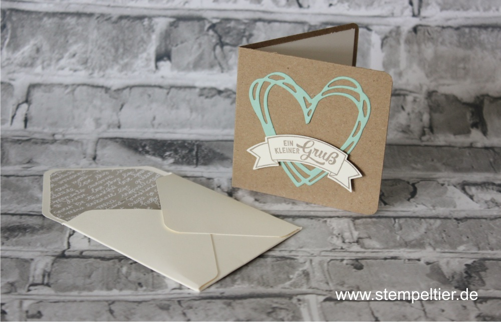 stampin Up thinlits grüße sonnenschein herz Kärtchen Krämooshof CI vom Stempeltier shunshine sandfarbener karton