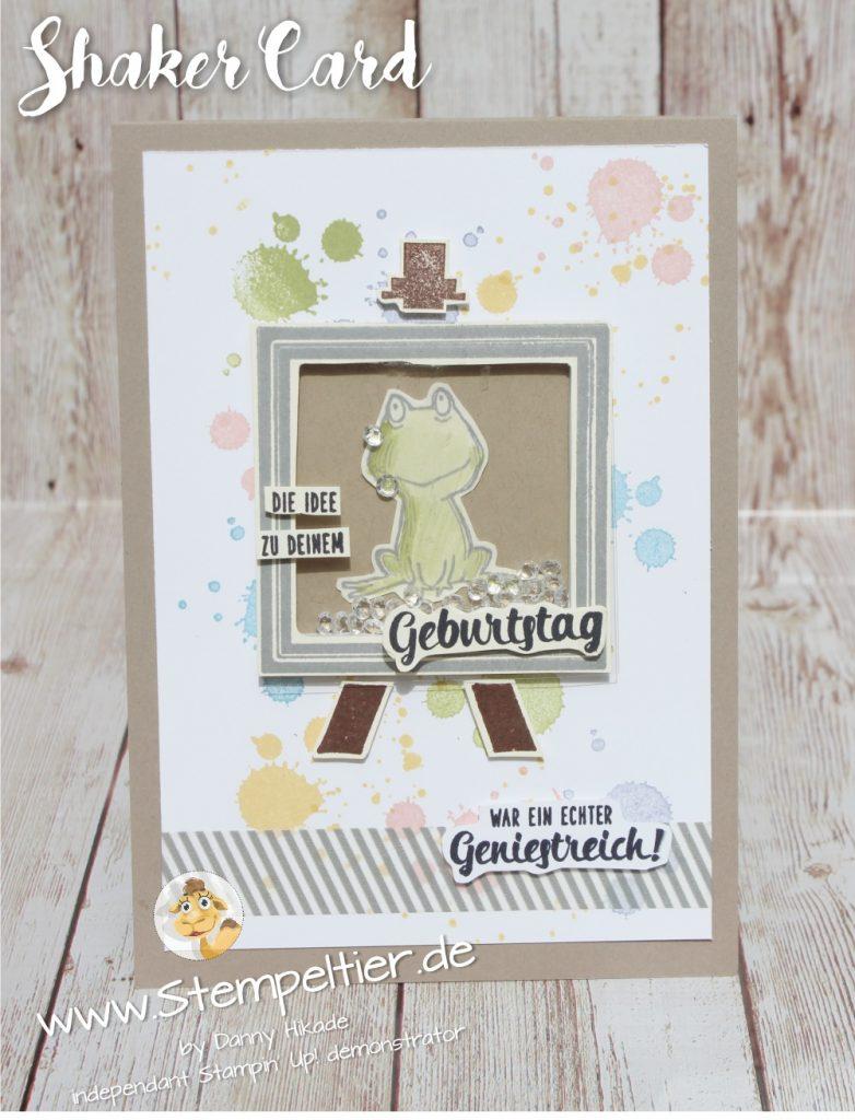 stempeltier alles palette und love you lots  frosch shakercard Schüttelkarte