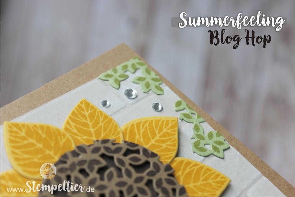 summerfeeling bloghop August 2016 stempelnd durchs jahr stempeltier sonnenblume wald der worte stampin up sunflower stempeltier