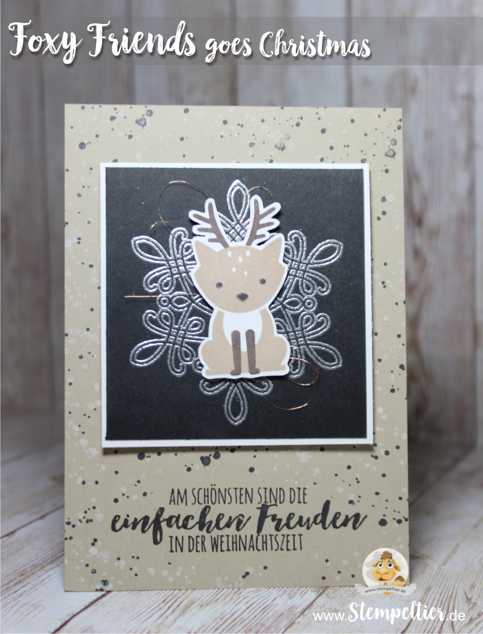 foxy friends christmas card snowflake stempeltier blog stampin up reindeer Rentier flurry of wishes silver