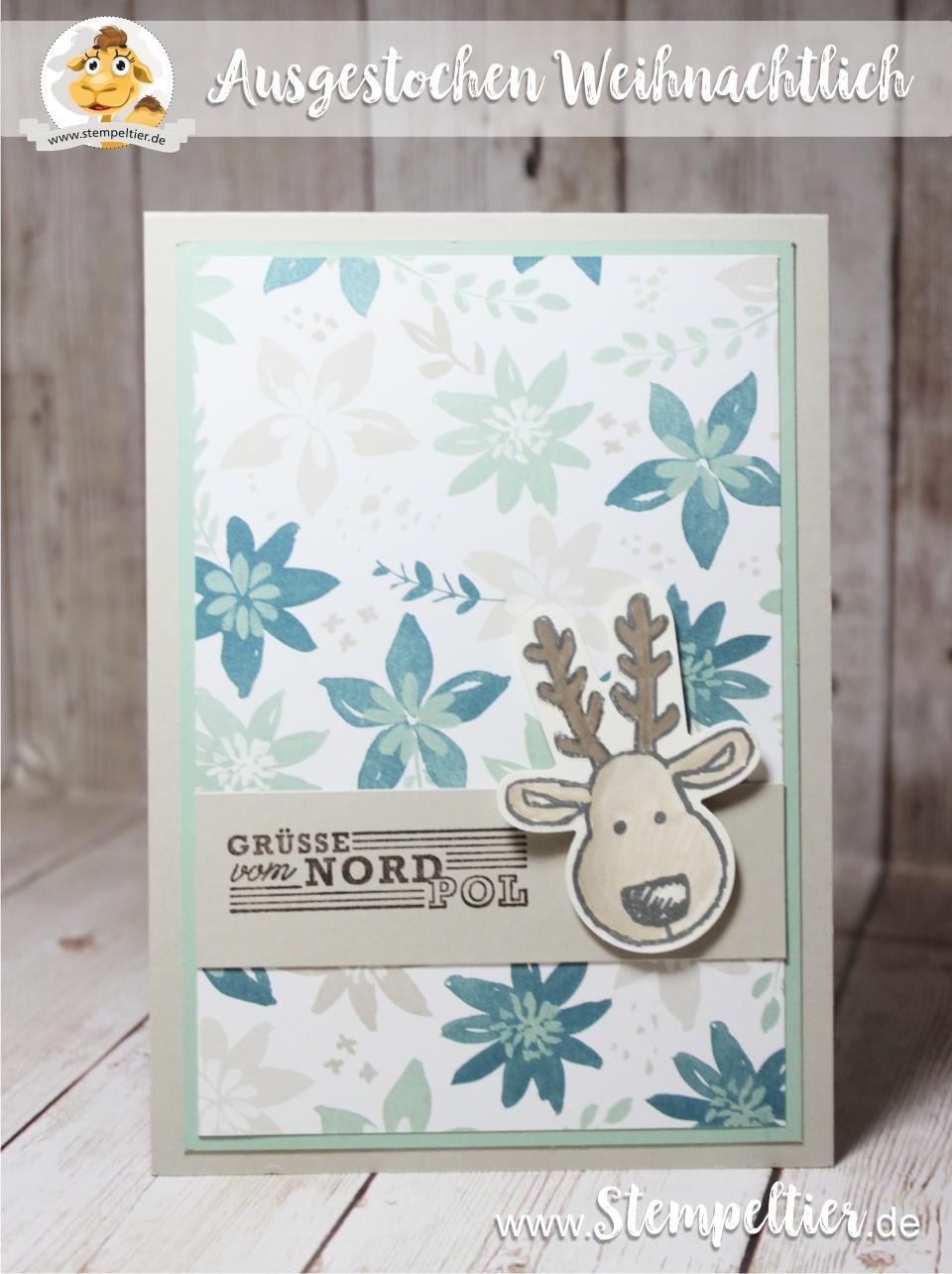ausgestochen weihnachtlich weihnachtskarte stampin up stempeltier rudi grüße nordpol 2016