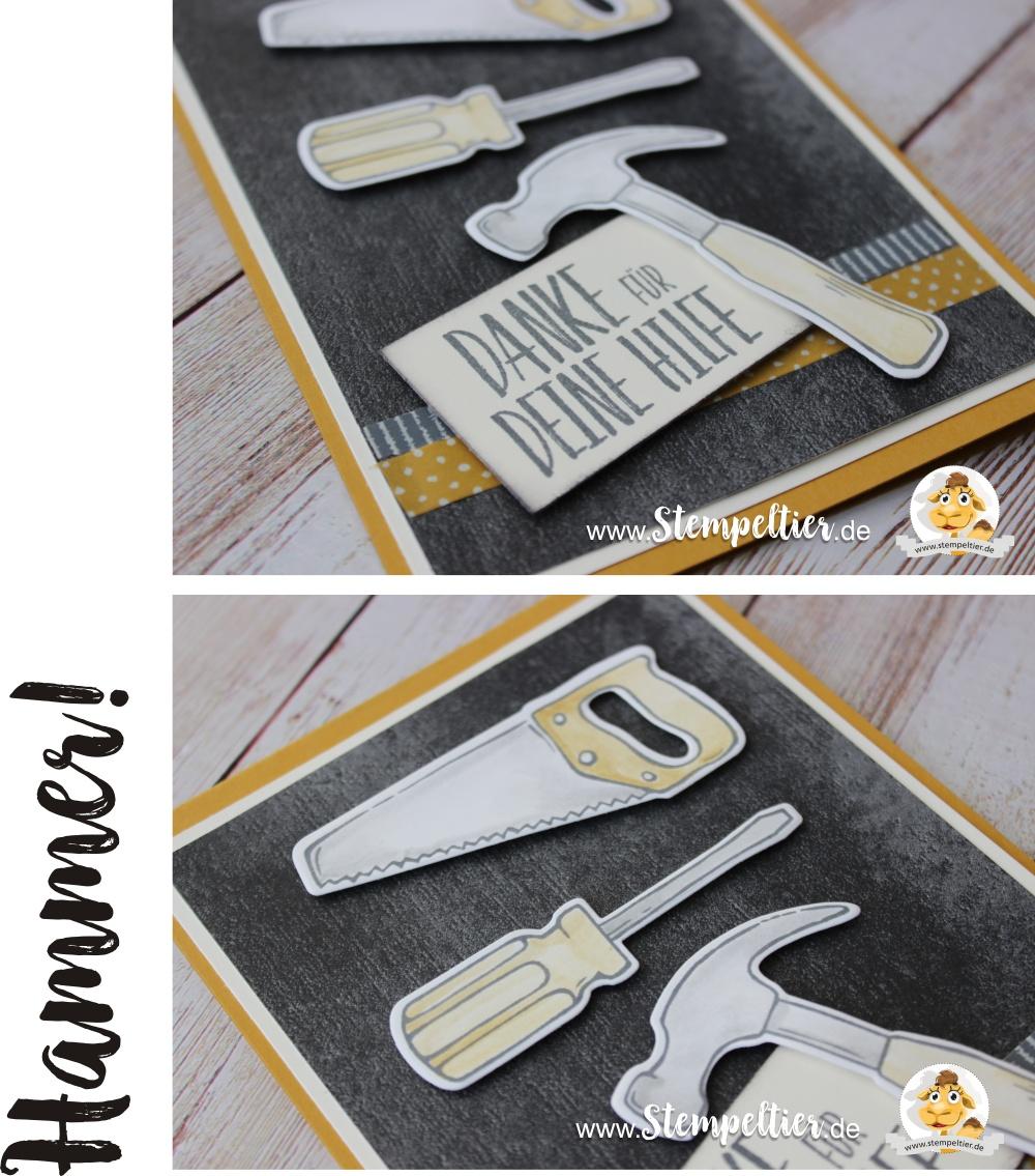 stampin up hammer werkzeugkasten tollbox säge heimwerker diy danke für hilfe ikea baumarkt stempeltier tools