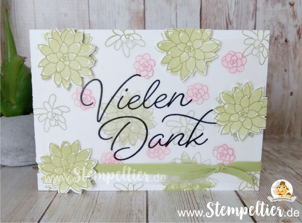 stampin up thank you card dankeskarte blog stempeltier gesagt gedankt sukkulenten