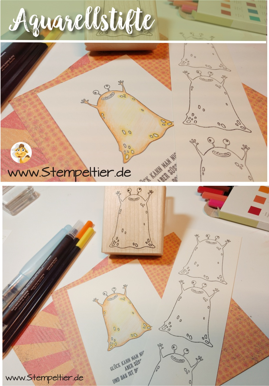 stampin up aquarellstifte colorieren monster yummy in my tummy stempeltier 2017