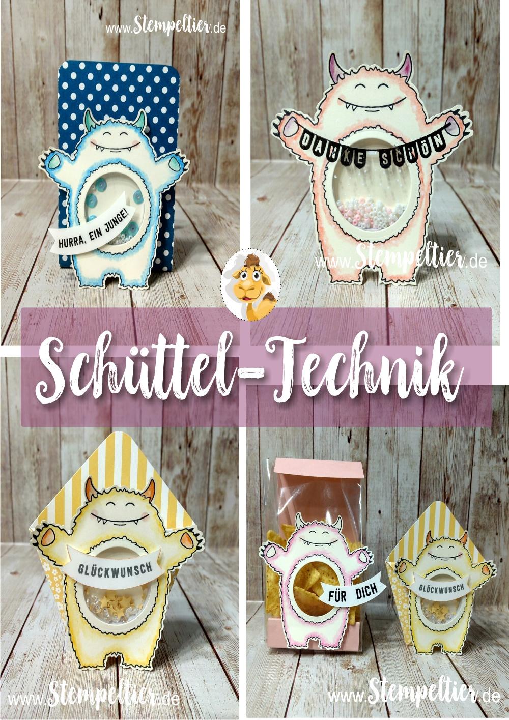 stampin up schüttelmonster monster yummy tummy bannerduo shakercard stempeltier