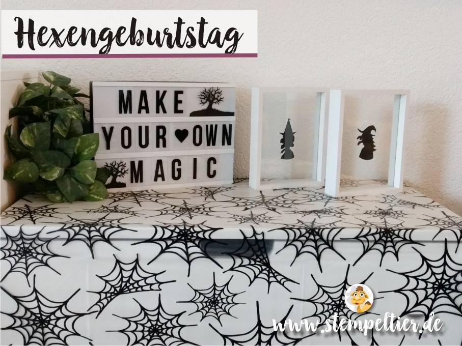 Hexen Geburtstag stampin up kindergeburtstag deko mottoparty bibi witch birthday tischdeko spinne stempeltier table