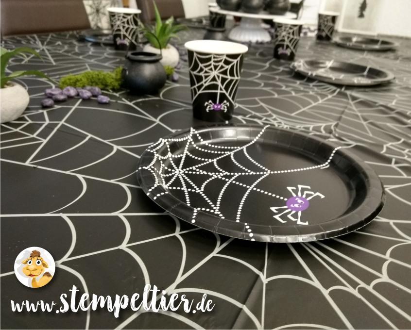 hexenbesen stampin up hexengeburtstag kindergeburtstag deko mottoparty witch birthday tischdeko spinne spiderweb