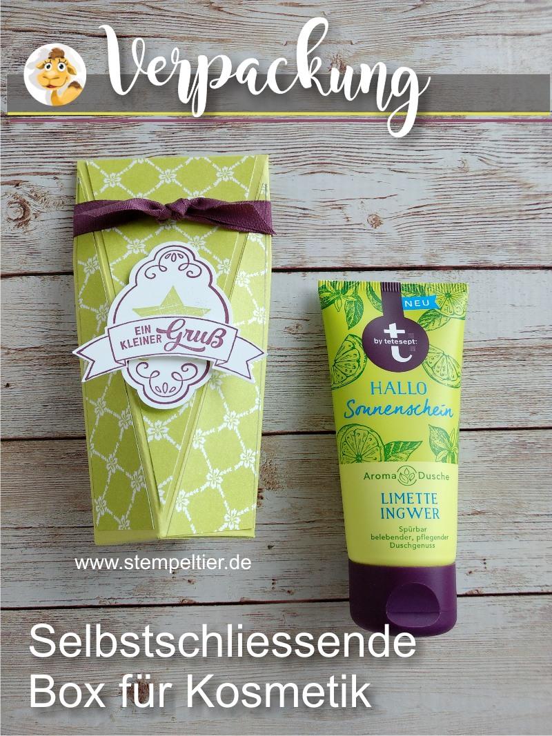 stampin up verpackung anleitung video tetesept duschgel handcreme kosmetik maße