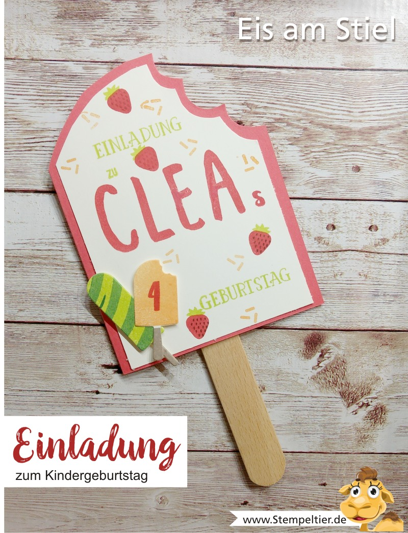 stampin up blog einladung kindergeburtstag eis baby am stiel invitation birthday stempeltier