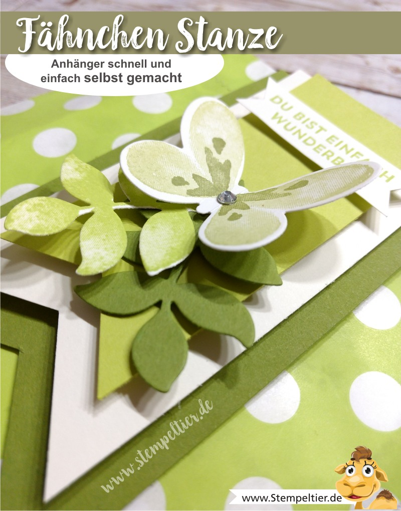 stampin up blog watercolor wings schmetterling limette dreifach fähnchenstanze stempeltier triple banner punch