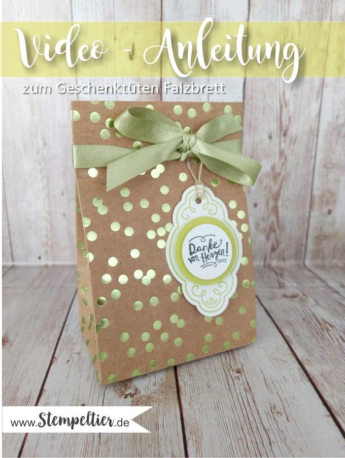 stampin up gift bag punchboard geschenktüten falzbrett anleitung video erklärung verwendung anwendung stempeltier metallic glanz DSP