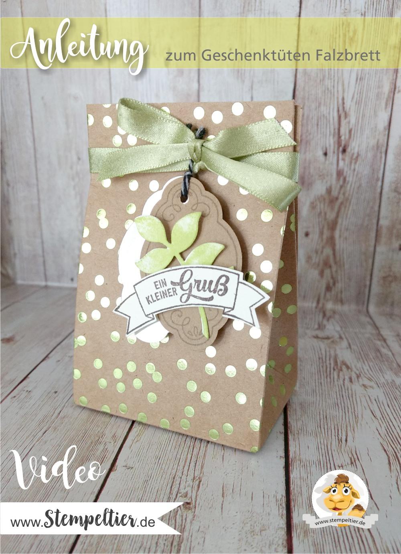 stampin up gift bag punchboard geschenktüten falzbrett anleitung video erklärung verwendung anwendung stempeltier metallic glanz