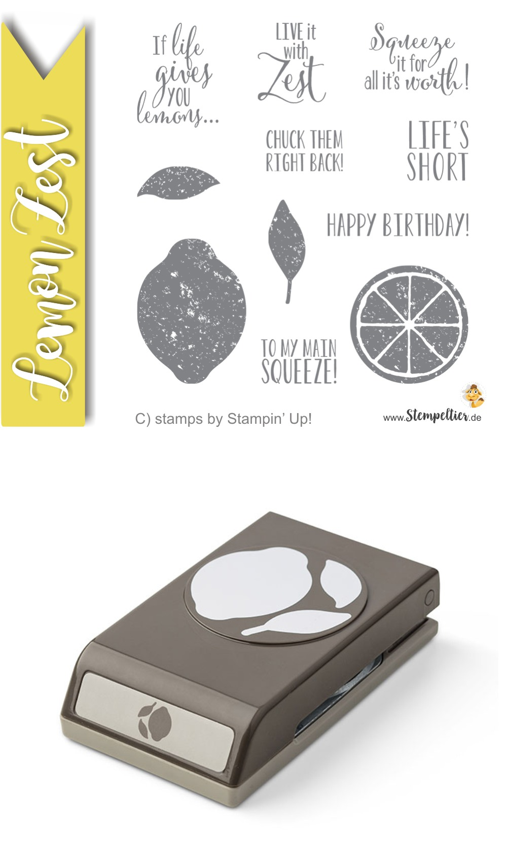 stampin up lemon zest zitrone handstanze stanze lime limonade make lemonade punch stempeltier 143712 punch