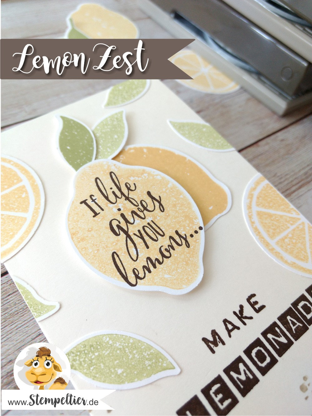 stampin up lemon zest zitrone handstanze stanze lime limonade make lemonade punch stempeltier 2