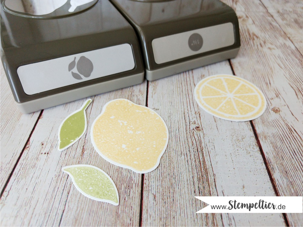 stampin up lemon zest zitrone handstanze stanze lime limonade make lemonade punch stempeltier circle punch