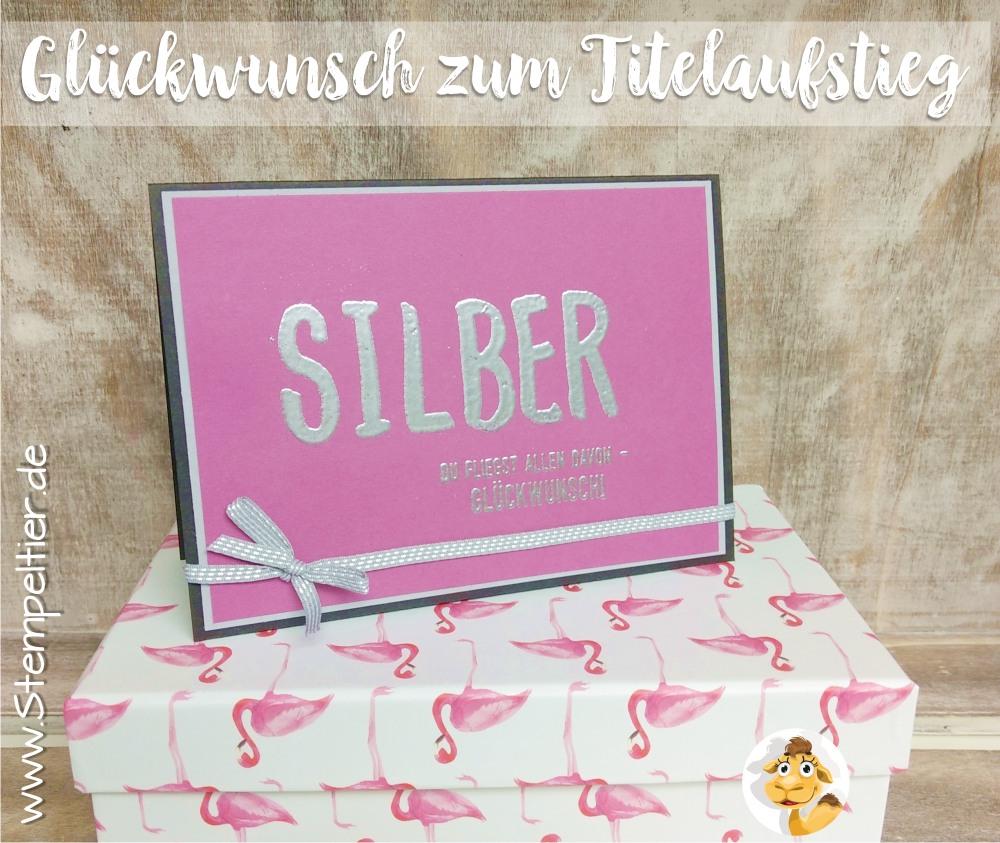 stampin up blog team geschenk titelaufstieg pop of paradise flamingo silber embossing stempeltier team alphabet