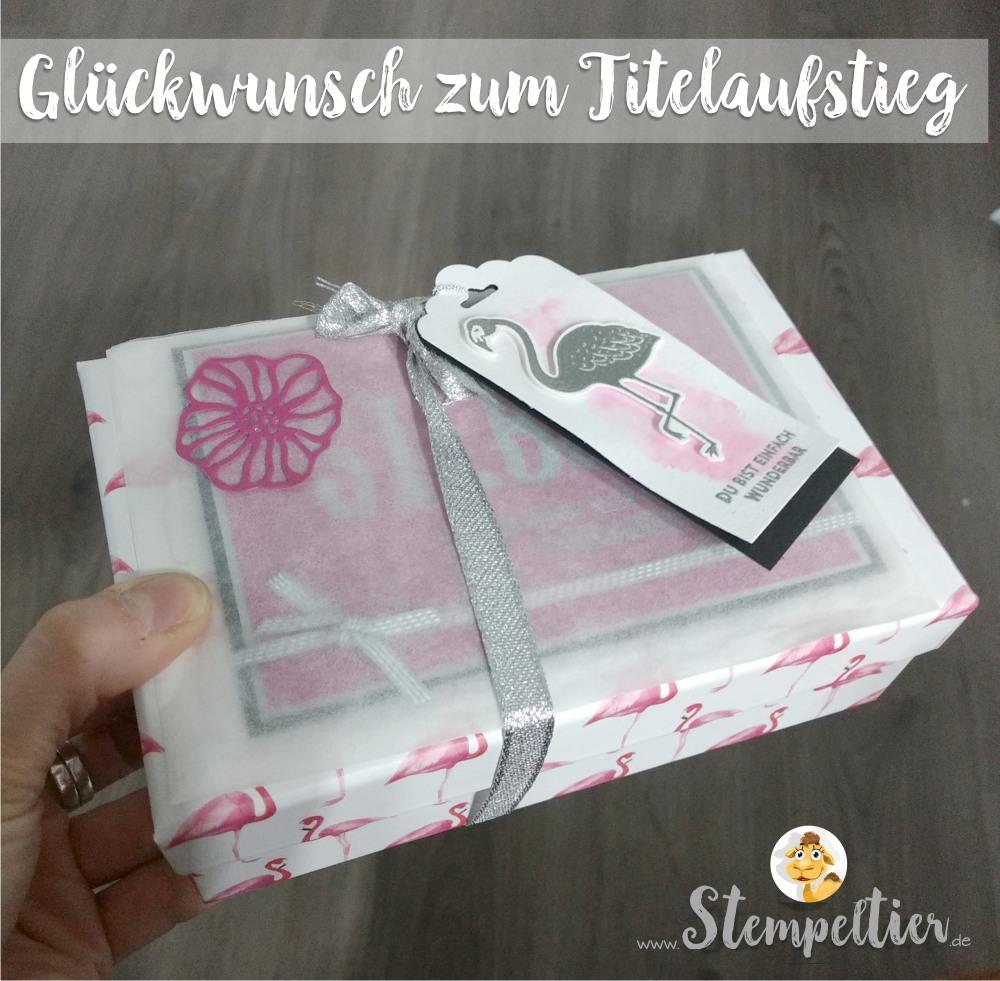 stampin up blog team geschenk titelaufstieg pop of paradise flamingo silber embossing stempeltier team