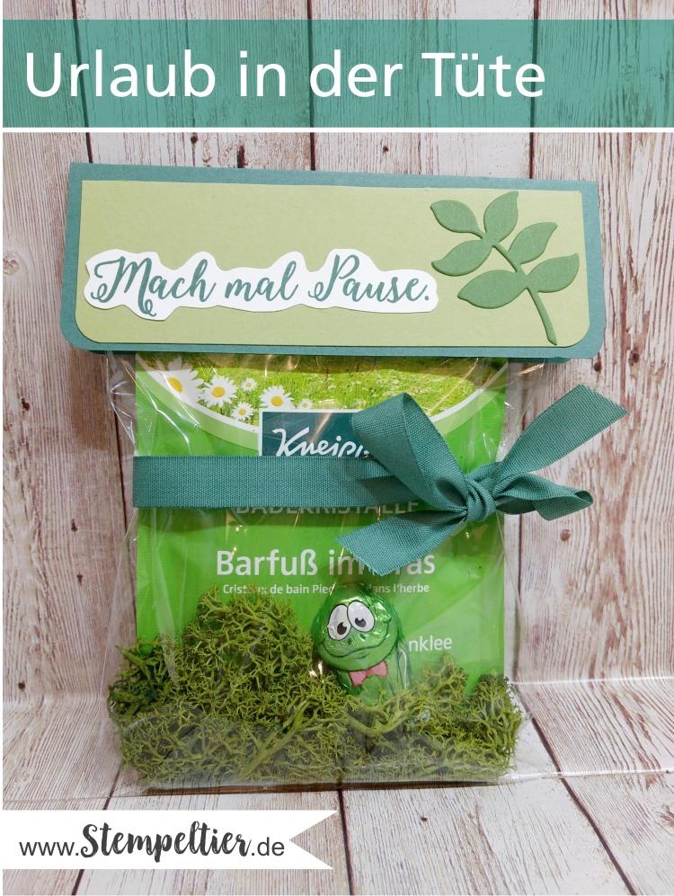 stampin up erzieherin kindergarten geschenk kleinigkeit urlaub in der tüte kneipp badesalz barfuß verpacken jahr voller farben
