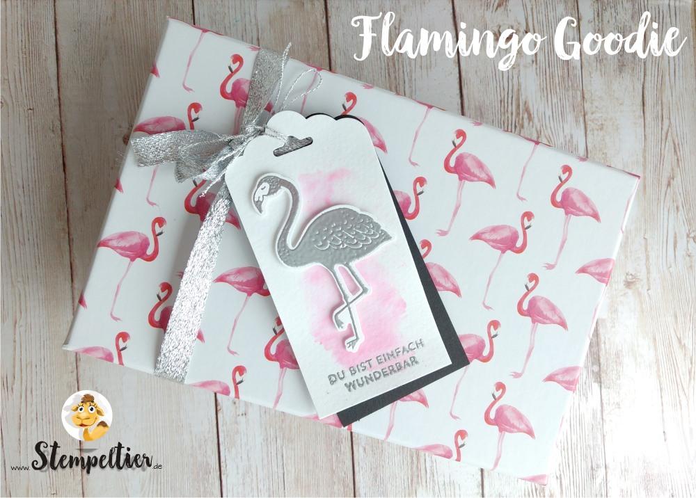 stempeltier stampin up flamingo team geschenk silber titelaufstieg glückwunsch pop of paradise