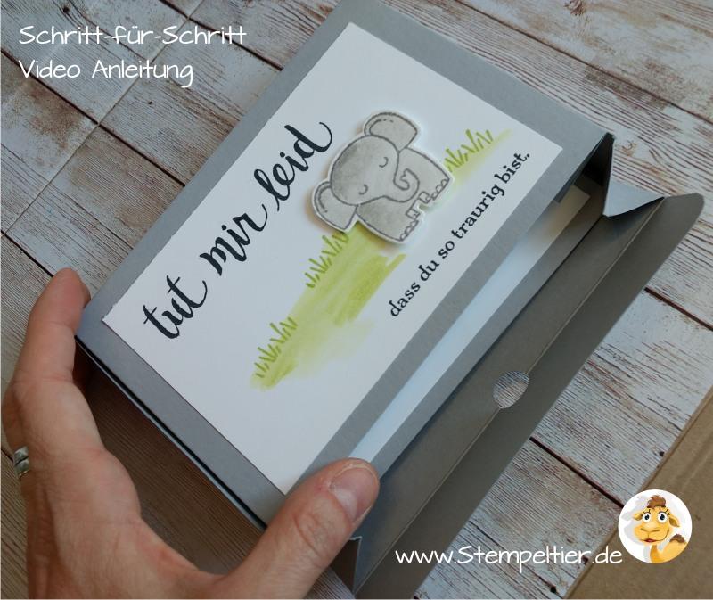 stampin up blog anleitung video tut mir leid tierische grüße elefant box verpackung ohne kleber stempeltier