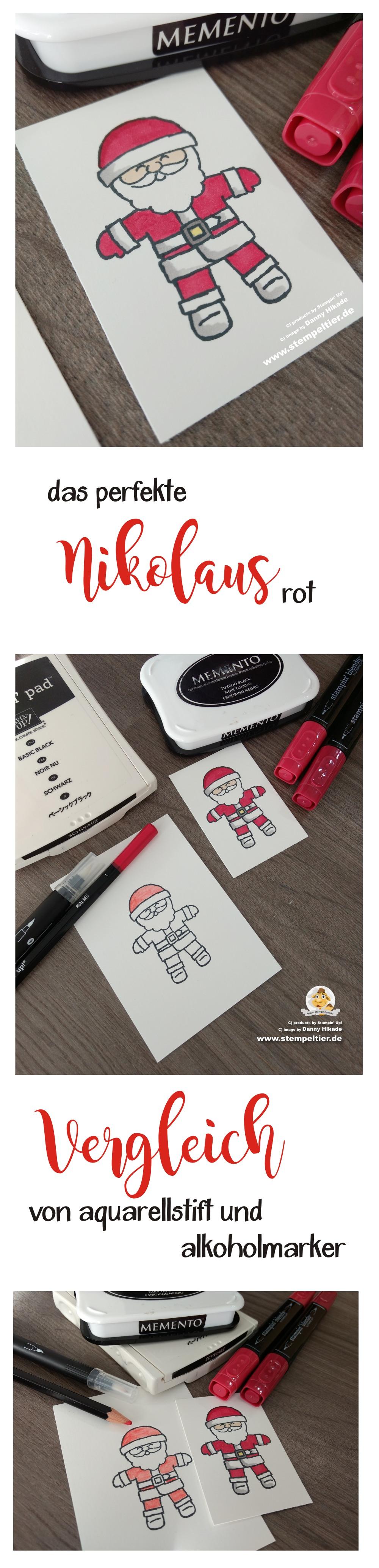 stampin up blends alkoholmarker colorieren weihnachten basteln diy santa nikolaus