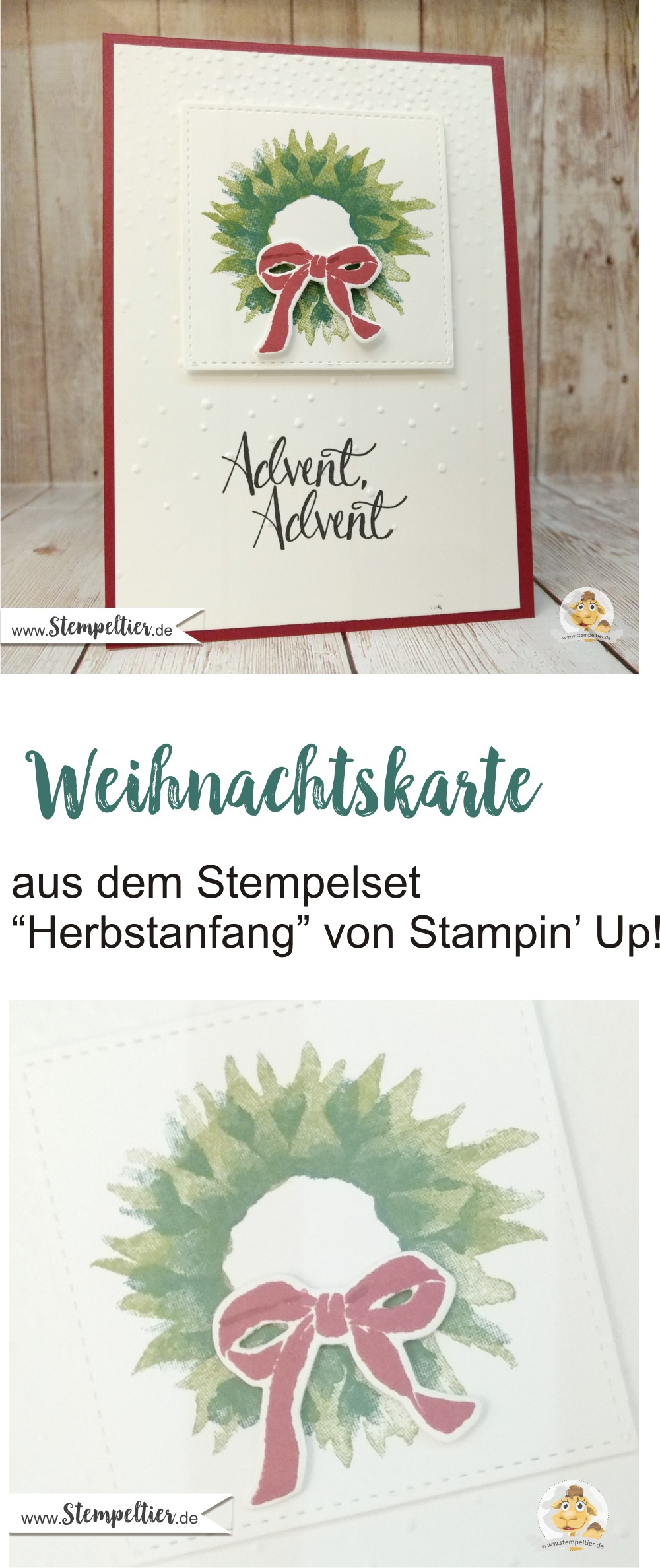stampin up painted harvest wreath adventskranz kranz herbstanfang stempeltier advent weihnachtskarte