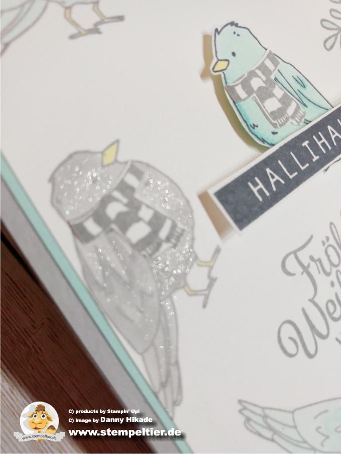 stampin up stampin blends alkoholmarker vogel farbenfroh blau weihnachtskarte stempeltier taube hallihallo