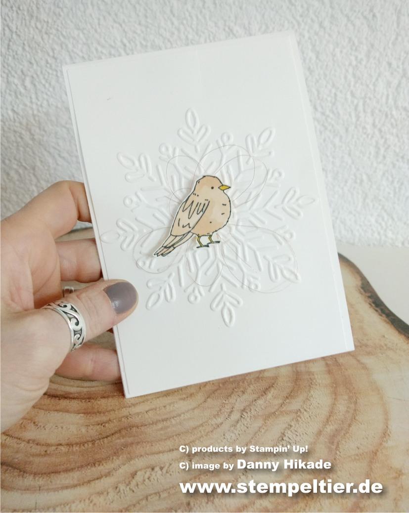 weihnachtskarte stampin up schneekristall schneeflocke farbenfroh vogel cas simple einfach