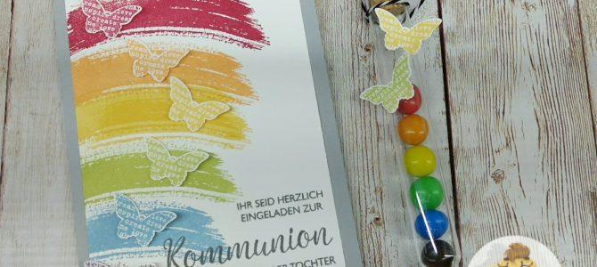 Ein Regenbogen zur Kommunion – Einladungen