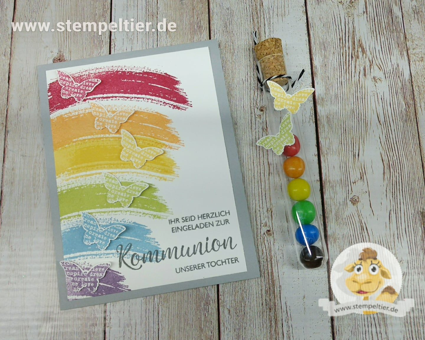 stampin up kommunion einladung regenbogen work of art schmetterling stempeltier