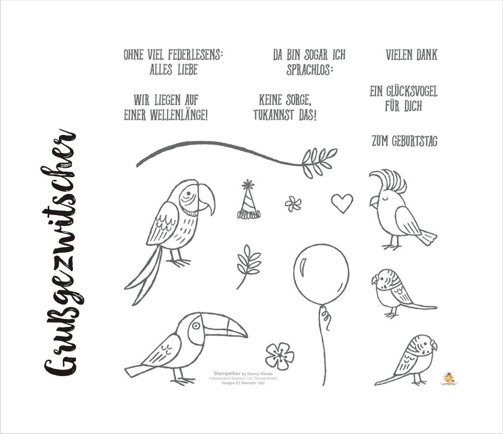 stampin up SAB occasions 2018 grußgezwitscher vögel tukan papagei stempeltier