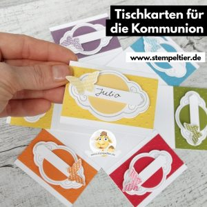 stampin up konfirmation tischkärtchen namenskarten placecards regenbogen rainbow bunt
