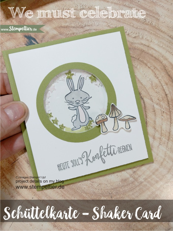 schüttelkarte shaker card bear rabbit we must celebrate anleitung video tutorial stempeltier