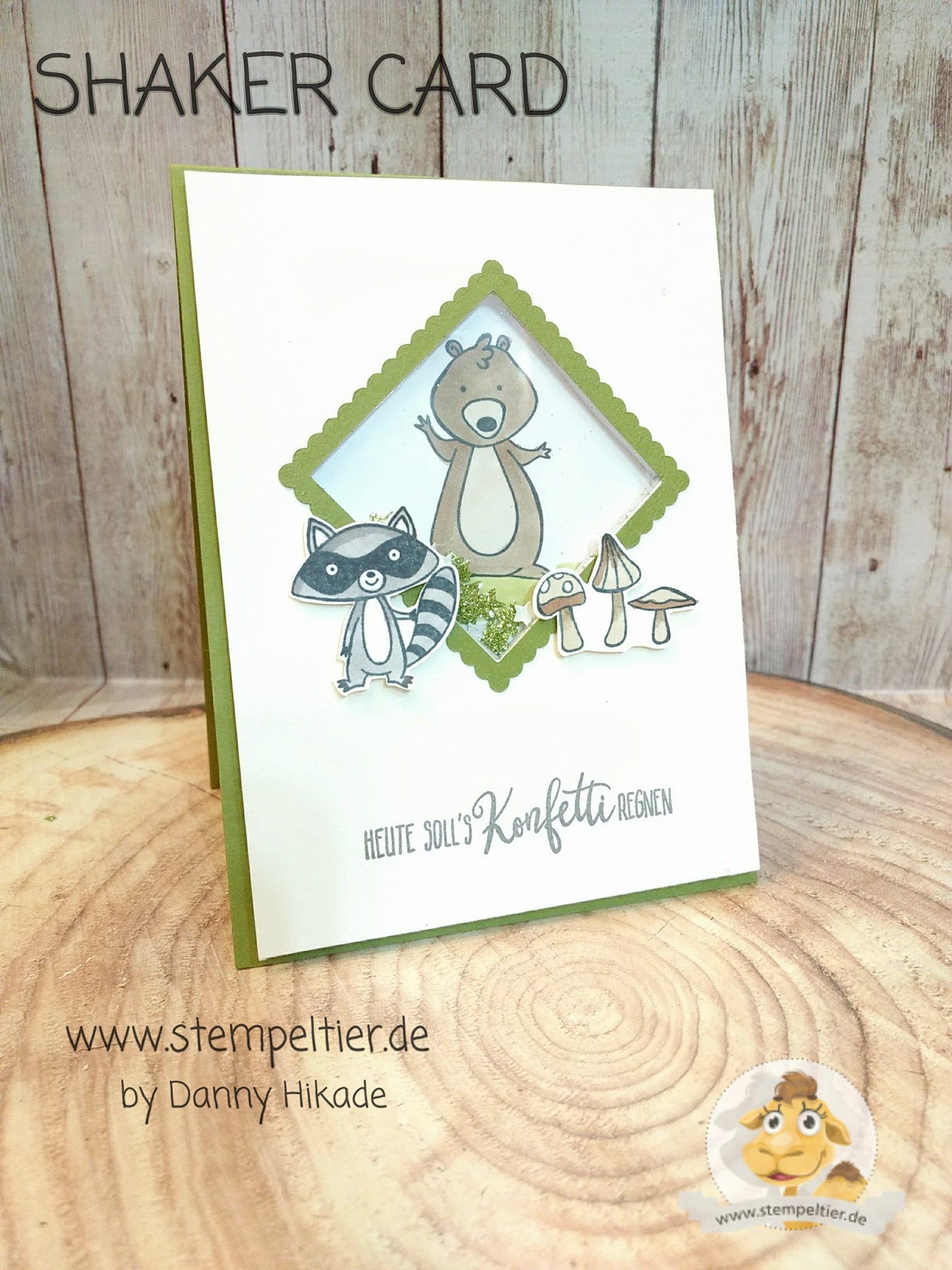 stampin up stempeltier we must celebrate schüttelkarte shaker card racoon