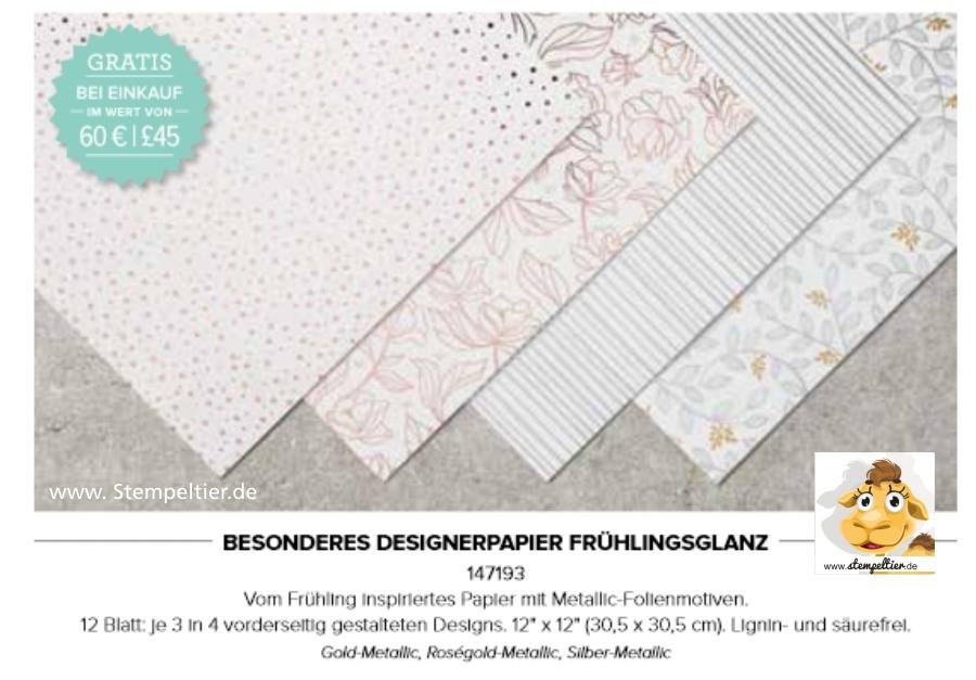 saleabration stampin up besonderes Designerpapier dsp frühlingsglanz stempeltier