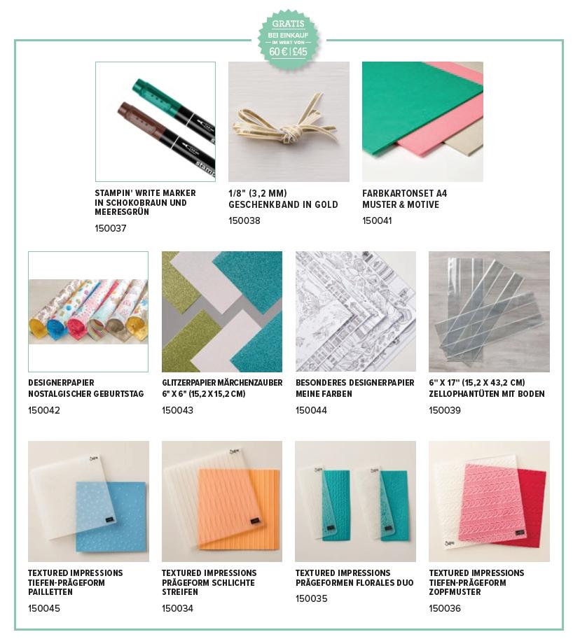 neue Prämien Sale-a-bration 2018 SAB stampin up abgestempelt prägeform papier