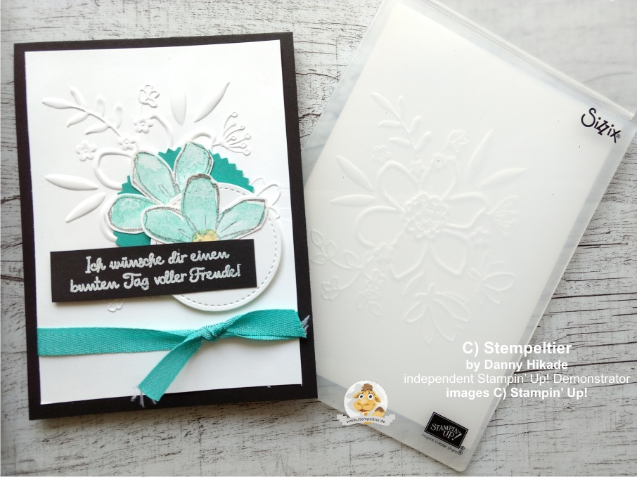 stampin up geteilte leidenschaft wunderblume prägen garden in bloom stempeltier share what you love bermudablau