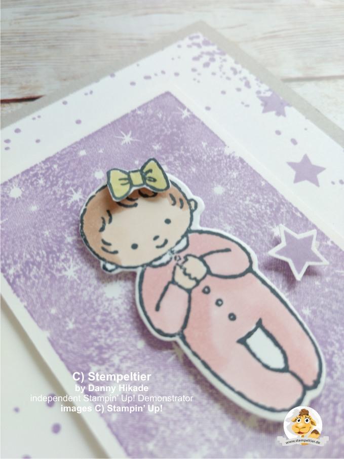 stampin up süßes baby wiegenfest geburt karte mädchen stempeltier girl 2
