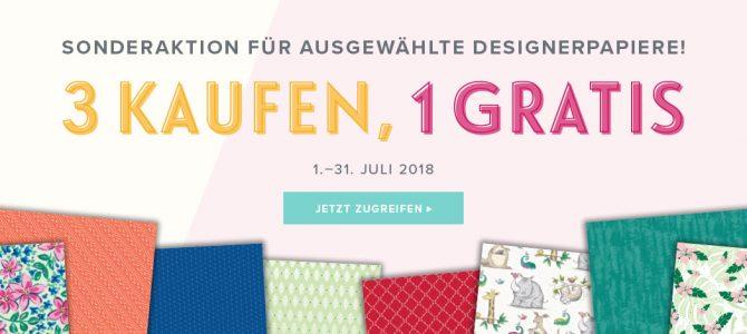 Designerpapier Aktion im Juli