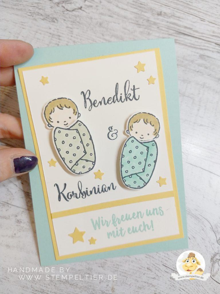 stampin up baby zwillinge geburt karte stempeltier personalisiert