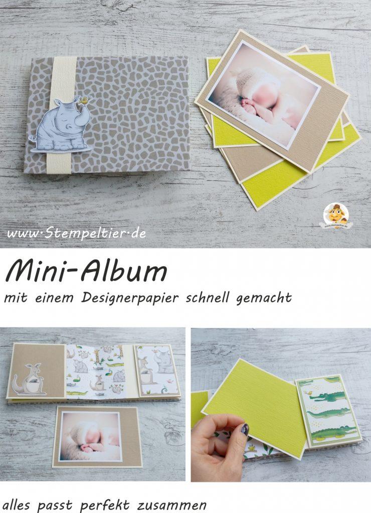 stampin up babyalbum jetzt wirds wild tiere animal expedition dsp minialbum fotoalbum