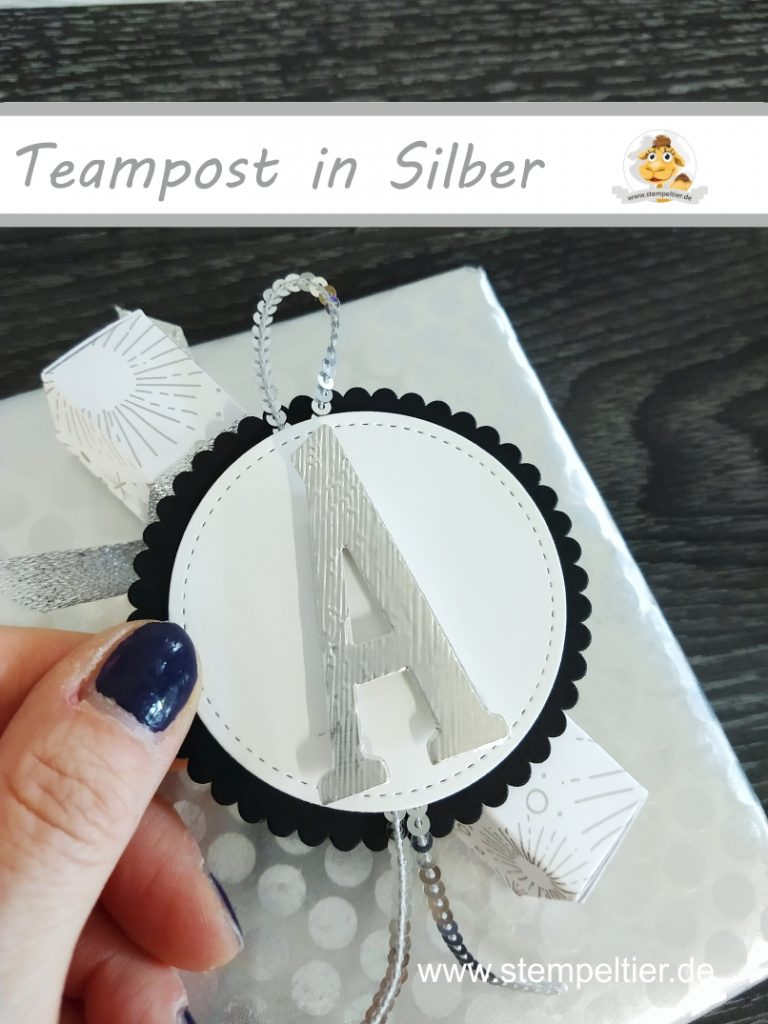 stampin up titelaustieg teampost silber metallbox verpackung geschenk stempeltier buchstaben framelits abc alphabet